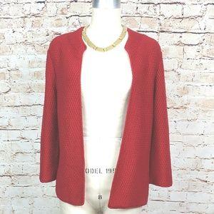 EILEEN FISHER|Red Open Cardigan Merino Wool Size S